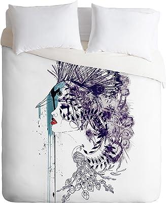 Deny Designs Holly Sharpe Peacock Girl II Duvet Cover, Queen