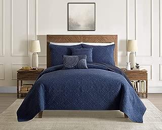 Vouchere Home Washed Reversible Quilt Set, Full/Queen, Indigo