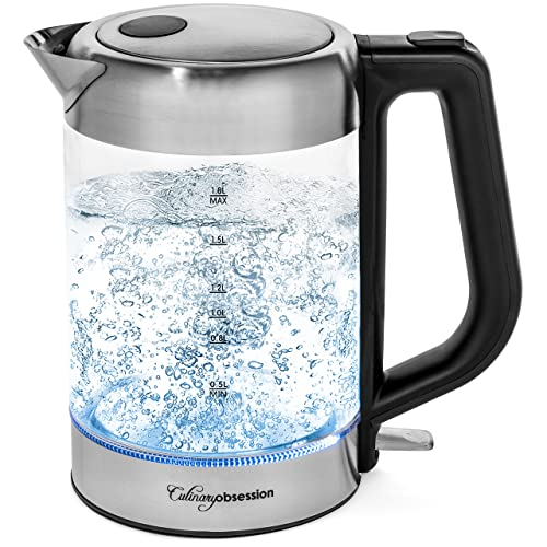 Electric Kettle | BPA Free with Borosilicate Glass & Stainless Steel - 1.8 Liter Rapid Boil