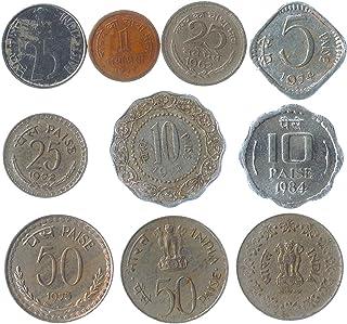 10 عملات مختلفة من الهند. عملات نقدية قديمة من جنوب اسيا جديرة بالاقتناء. بيزة هندية. اضافة مثالية لالبوم العملات الخاص بك