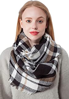 Infinity Scarf for Women Plaid & Tartan Winter Lightweight Circle Scarfs for Girls