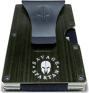 Savage Spartan Tactical Wallet   Slim Minimalist RFID Blocking Aluminum Metal Credit Card Holder With Money Clip for Men (...