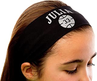 Design Your Own Personalized BASKETBALL Cotton Stretch Headband GLITTER VARSITY FONT By Funny Girl Designs
