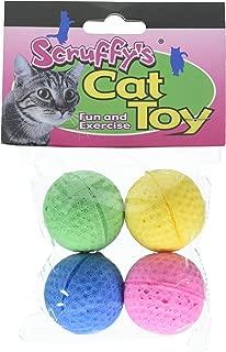 Boss Pet 04467 Scruff's Colorful Kitty Springy Foam Sponge Balls (4 Pack)