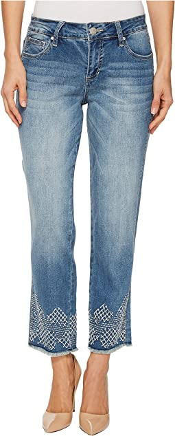 Jag Jeans - Logan Straight Ankle Jeans with Embroidery in Horizon Blue