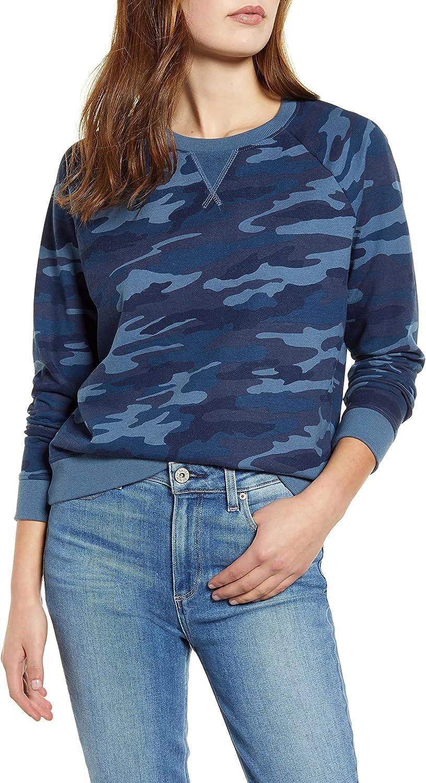 Lucky Brand Women's Long Sleeve Crew Neck Camo Pullover Sweatshirt