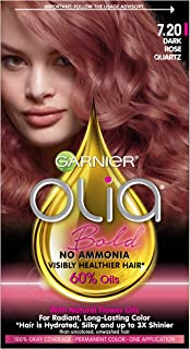 Garnier Olia Bold Ammonia Free Permanent Hair Color (Packaging May Vary), 7.20 Dark Rose Quartz, Rose Hair Dye, 1 Count Kit