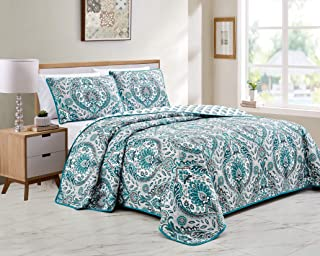Details about  /Turquoise Quilted Bedspread /& Pillow Shams Set Skull and Flowers Print