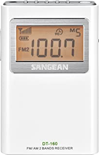 Sangean DT-160 AM/FM Stereo Pocket Radio with 100 Operating Hours on 2 AA Batteries