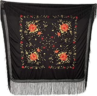 schwarz mit roten Rosen Fransen rot schwarz La Se/ñorita Spanischer Manton Tuch//Schal flecos doble