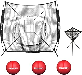 KingSports Collapsible Baseball Net/Softball Net, 7 x 7 Large Mouth Outdoor Sports Net with Bow Net Frame & Carry Bag …