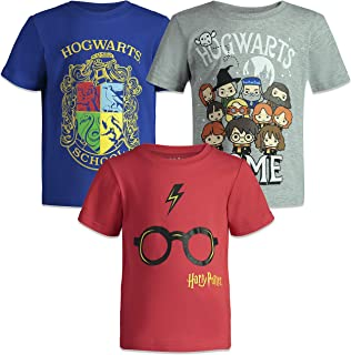 Harry Potter Hogwarts Toddler Boys Short Sleeve T-Shirts 3 Pack Blue/Grey/Red