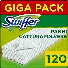 Swiffer Panni di Ricambio per Scopa, per Catturare e Intrappolare 3 Volte Più Polvere, Sporco e Peli di una Scopa Tradizionale, 120 Pezzi
