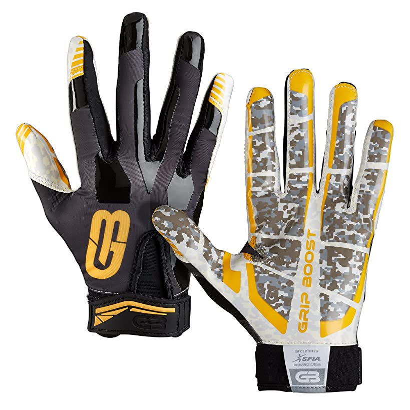 Grip Boost Football Gloves #1 Grip Stealth Pro Elite Adult Men and Youth Football Gloves and Receiver Gloves