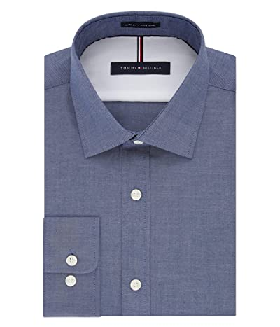 Tommy Hilfiger Dress Shirts Non Iron Slim Fit Solid Spread Collar