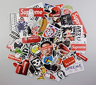 Supreme Stickers Pack KONLOY Cool Stickers 104 Pcs Fashion Laptop Car Stickers for Snowboard Motorcycle Bicycle Phone Computer DIY Keyboard Car Window Bumper Wall Decoration Luggage Refrigerator Decal