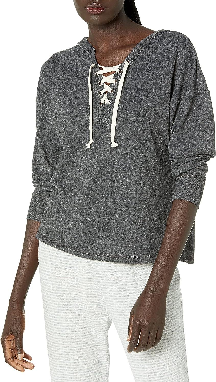 Amazon Brand - Mae Women's Loungewear Lace Up Sweatshirt with Hood