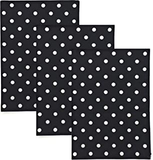 Dunroven House Polka Dot 100% Cotton Kitchen Towels, Set of 3 (Black)