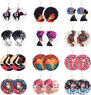 Sunssy 12Pairs African Dangle Earring Women Round Wooden Painted Earring Ethnic Style