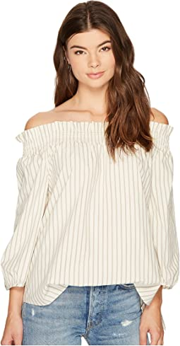 Oxford Stripe Off Shoulder Shirting Top KS8K4353
