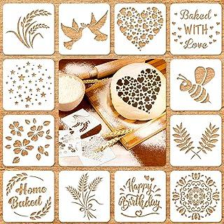 12 Pieces Artisan Bread Stencils Baking Stencil Set Cook Stencil Baking Template Bread, Cake, Pie, or Cookie Stencils Temp...