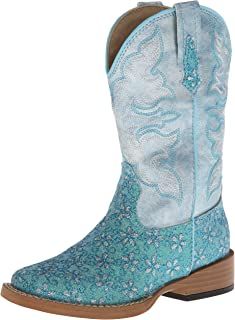Square Toe Glitter Floral Western Boot (Toddler/Little Kid)