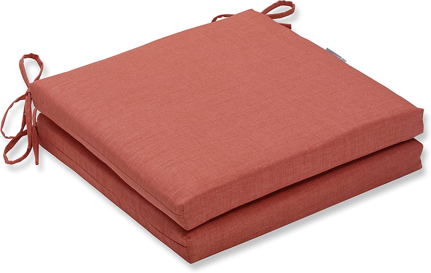 Pillow Perfect Outdoor Indoor Rave Coral Squared Corners Seat Cushion (Set of 2), 20 in. L X 20 in. W X 3 in. D