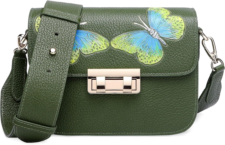 PIJUSHI Designer Shoulder Purses Women's Genuine Leather Bag CrossBody Bag Summer (8001 Green)