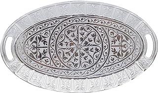 Turkish Ottoman Coffee Tea Beverage Serving Ellipse Tray (Antique Silver)