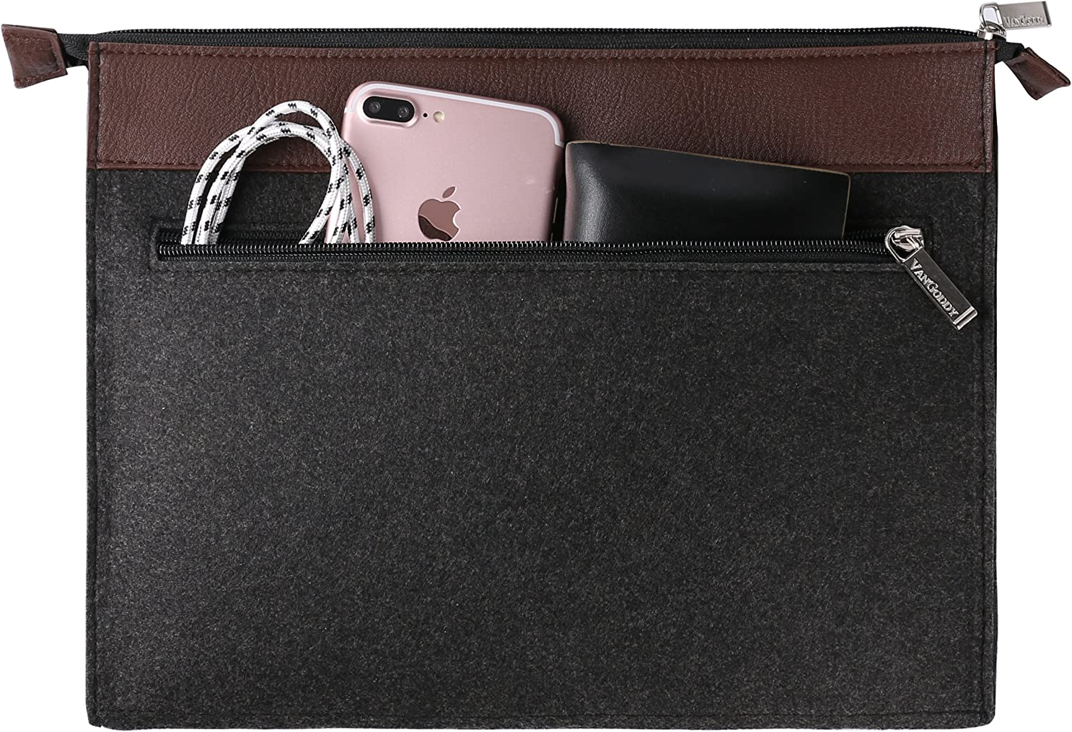Yoga Series 10.1 inch 12 inch 12.2 inch Tablet with Wireless Mouse and Headphone Vangoddy 10 to 12 Inch Exo Woolen Felt Slim Carrying Case Sleeve Black Trim for Lenovo IdeaPad ThinkPad