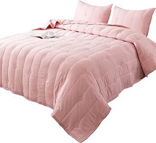 ANNA.Z HOME Ethan Comforter, Quilt, Stone Washed Microfiber 3-Piece Set Quilt, Allover Stitching and Embroidery, King, Queen and Twin Set in Solid Colors, Good for All Seasons. (Pink, Queen Set)
