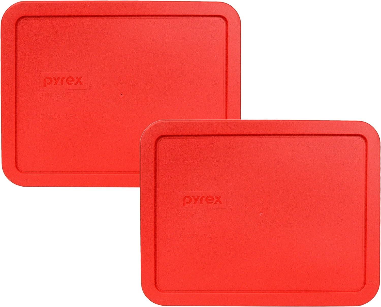 Pyrex Alternative dealer 7211-PC Red 6 Cup New arrival Pack Plastic Lid Rectangular 2