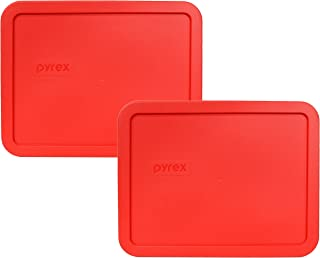 Pyrex 7211-PC Red 6 Cup Rectangular Plastic Lid (2 Pack)