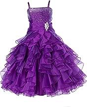 ekidsbridal Rhinestones Organza Layers Junior Flower Girl Dresses Christening Dress 164S