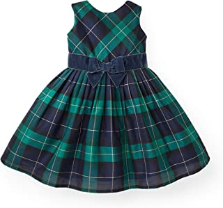 green and black tartan dress