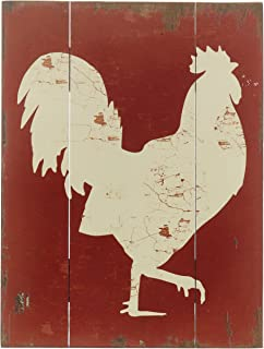 Barnyard Designs White Rooster Cockerel Retro Vintage Wood Plaque Bar Sign Country Home Decor 15.75