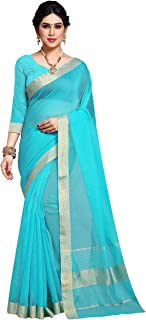 Sidhidata Textile Jacquard Border Kota Doria Cotton Manipuri Saree with unstitched blouse piece