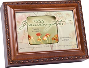 Cottage Garden Granddaughter You are a Treasure Woodgrain Rope Trim Jewelry Music Box Plays Wonderful World