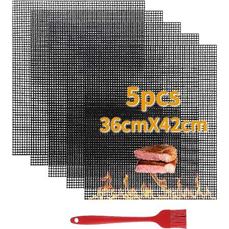 VLVEE Tapis de Barbecue,5 Set Cuisson Mats Plaque Feuille de Cuisson Four,Réutilisable Nettoyable, 36 * 42cm pour Barbecue gaz Charbon électrique 100% Anti-adhérent