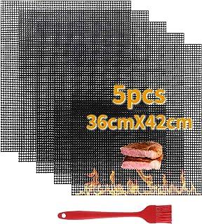 VLVEE Tapis de Barbecue,5 Set Cuisson Mats Plaque Feuille de Cuisson Four,Réutilisable Nettoyable, 36 * 42cm pour Barbecue...