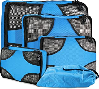 ProCase Packing Cubes for Travel, 4 Piece Packing Cubes Set Lightweight Travel Luggage Packing Organizers with Shoe Bag - Blue