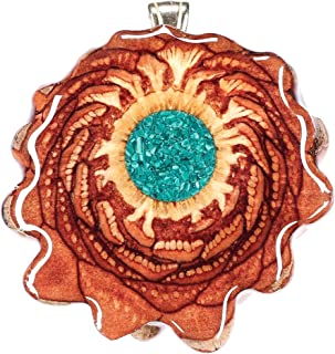 Glowing Crushed Malachite Third Eye Pinecone Pendant