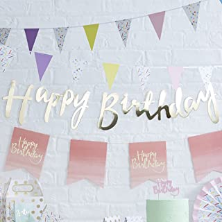 Ginger Ray PM-910 Pick And Mix Designer Happy Birthday Bunting Banner Decoration, Gold, 1.5