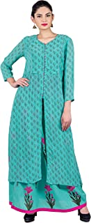 Missprint Women's Hand Block Printed Round Neck 3/4 Sleeve Double Layered Bodice Cotton Fabric Kurta With Skirt