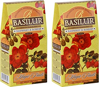 Basilur | Rasberry and Rosehip Tea | With Real Bits of Fruits | Ceylon Black Loose Tea | Magic Fruits Collection | 100g / 3.52 oz. Carton | Pack of 2