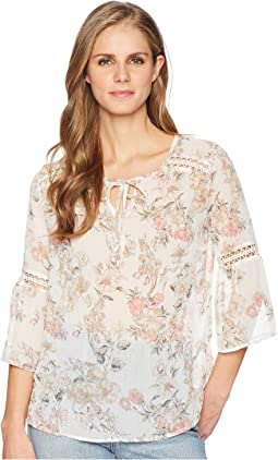 Floral 3/4 Bell Sleeve Crinkle Chiffon Printed Blouse