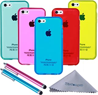 wisdompro iPhone 5c Case, 5 Pack Bundle of Clear Jelly Color Soft TPU Gel Protective Case Covers (Blue, Aqua Blue, Hot Pink, Yellow, Red) for Apple iPhone 5c