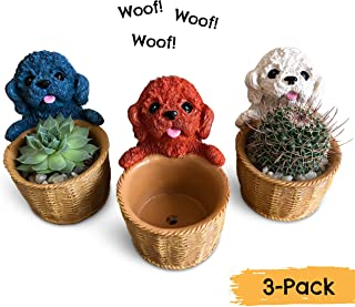 Small Succulent Pots - Set of 3 Cute Puppy Dog Succulent Planters for Real or Artificial Succulents, Cactus & Other Small Indoor Plants