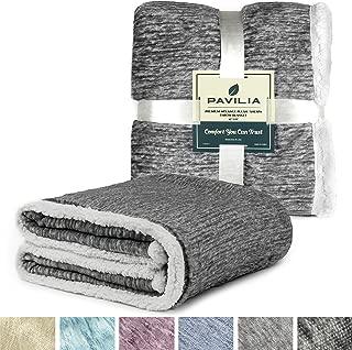 PAVILIA Melange Sherpa Fleece Blanket Twin Size | Super Soft, Reversible, Microfiber Fleece Blanket Throw | Luxurious Plush Fuzzy Dark Grey TV Blanket for Bed Sofa(60x80 Inches, Charcoal)