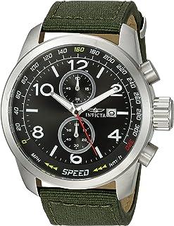 Invicta Men's Aviator Stainless Steel Quartz Watch with Nylon Strap, Green, 24 (Model: 19409